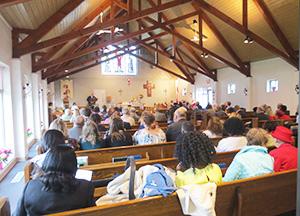 The interior of St. James Brampton during worship